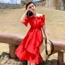 超仙一字肩沙灘裙女新款紅色洋裝夏 琪朵市集