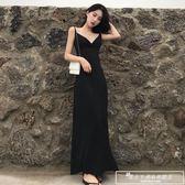 2018新款韓范港味復古晚晚同款度假風莫代爾高腰吊帶連身裙長裙女『韓女王』