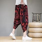 亞麻七分褲男夏季中國風印花短褲尼泊爾大碼沙灘褲寬鬆休閒蘿蔔褲 現貨快出
