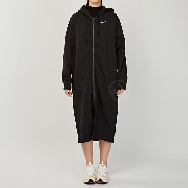 Nike Long FZ FLC Trend 女款 黑 刺繡小勾 刷毛 長版 連帽 運動 外套 CU7071-010