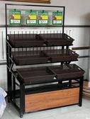 超市蔬菜架子水果貨架展示架多功能水果架子水果店鋼木鐵架子 LannaS YTL
