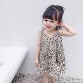 小童裙子女童夏裝2021新款洋氣豹紋洋裝/連身裙女寶寶薄款公主吊帶裙 快速出貨