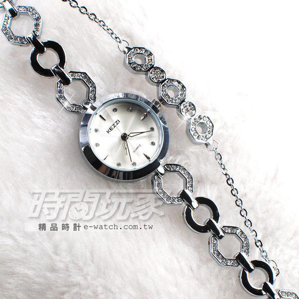KEZZI珂紫 時尚鑲鑽 纖細手鍊錶 女錶 白色 KE1523白