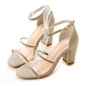 amai小性感雙層一字繫踝粗跟涼鞋 灰