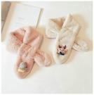 兒童毛絨交叉圍巾秋冬女童聖誕可愛嬰幼兒保暖仿兔毛男女寶寶圍脖