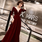 年會主持人晚禮服女宴會高貴優雅紅色端莊大氣網紅冬 喵可可