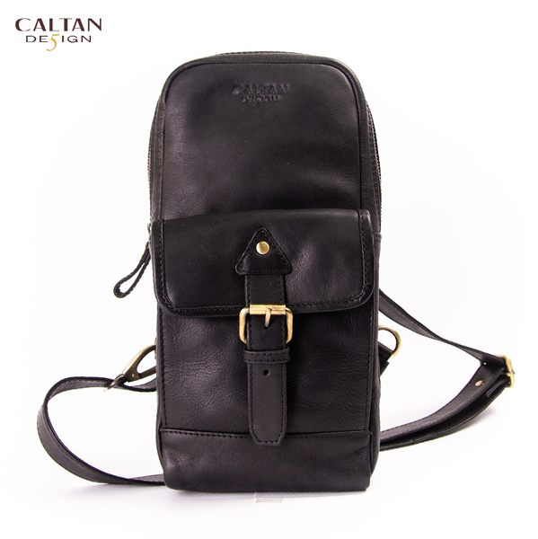 牛皮/斜背包【CALTAN】真皮休閒時尚釦飾單肩斜背/後背包-5306ht-bk