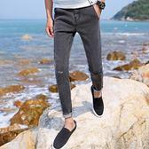 九分牛仔褲男修身小腳韓版百搭彈力男潮流韓版 JA1258 『時尚玩家』