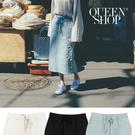 Queen Shop【03020662】後開岔綁帶直筒中裙 三色售*現+預*