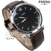 FOSSIL 雅痞風範 都會腕錶 薄型錶框 羅馬時刻 真皮錶帶 深咖啡 男錶 中性錶 防水手錶 FS5464