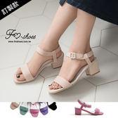 涼鞋.甜蜜糖果色絨質踝帶低跟涼鞋(杏、紫、黑)-FM時尚美鞋-訂製款.enjoy