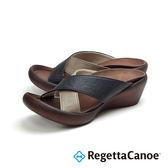 RegettaCanoe 女款 日本原裝 足弓支撐 楔型交叉 健康涼拖鞋CJLW-0562- 黑x褐 0562