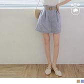 《CA2053-》清新格紋荷葉打褶腰鬆緊高含棉短裙-附編織腰帶 OB嚴選