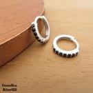 §海洋盒子§時尚簡單黑色鋯石圈圈易扣925純銀耳環 (外鍍專櫃級正白K)