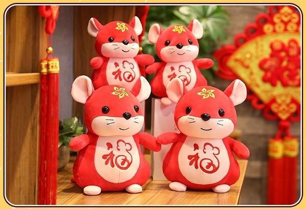 【28公分】福氣鼠娃娃 生肖鼠玩偶 吉祥物公仔 聖誕節交換禮物 生日禮物 居家裝飾 鼠年行大運