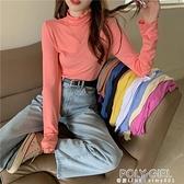 莫代爾純色半高領打底衫長袖上衣女韓版秋冬修身顯瘦內搭T恤ins潮 夏季新品