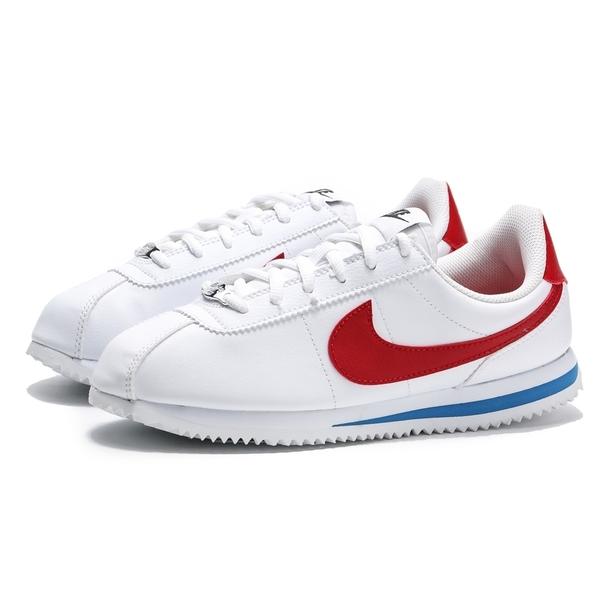 NIKE CORTEZ BASIC SL GS 白藍紅 鐵牌 皮革 阿甘鞋 大童 女生 (布魯克林)  904764-103