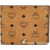 MCM Claus 可拆証件夾棕色圖騰塗層帆布對折短夾 1920243-B3