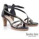 Keeley Ann極簡魅力 MIT金屬修飾繞帶高跟涼鞋(黑色) -Ann系列
