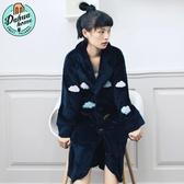 睡衣女秋冬韓版睡袍新款學生浴衣可愛法蘭絨加厚時尚睡裙冬天浴袍