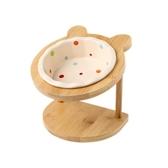 調節高度貓碗陶瓷單雙碗架子餐桌貓咪餐具貓食盆可愛護頸椎寵物碗【快速出貨】