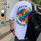 男短T恤 韓版大尺碼渲染彩虹笑臉五分短袖上衣【NQ921039】