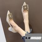 粗跟鞋子婚鞋單鞋尖頭高跟鞋女【邦邦男裝】
