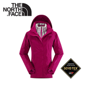 【The North Face 女 GORE-TEX 羽絨兩件式外套 紫紅】 CUF1/GORE-TEX兩件式外套★滿額送