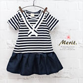 純棉 學院風交叉領條紋拼接洋裝 女童 連衣裙 韓版 親子裝