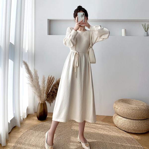 洋氣氣質針織打底裙 女生韓版時尚連衣裙 女士顯瘦日系中長裙 秋冬長袖過膝毛衣內搭襯裙