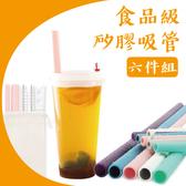 【04778】  食品級矽膠吸管六件組 耐高溫 FDA檢驗 不含雙酚A 珍珠奶茶吸管 環保吸管 矽膠吸管