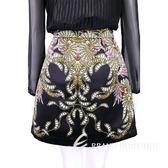 CLASS roberto cavalli 黑色印花圖騰緞面短裙 1620488-01