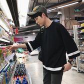 新款裝男生七分袖T恤寬鬆學生韓版bf風五分袖半袖體恤潮7分     初語生活