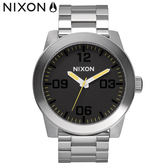 NIXON 手錶 原廠總代理 A346-1227 CORPORAL SS 銀黑雙色 潮流時尚鋼錶帶 男女  生日 情人節禮物
