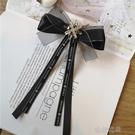 領結 韓版水鑚黑色蕾絲領結女蝴蝶結襯衫領花歐根莎飄帶別針繫帶