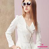 【SHOWCASE】金蔥刺繡騎士風斜拉鍊短版外套(白)