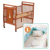 【促銷】奇哥 比得兔 原木大床+快樂森林六層紗六件式寢具組(L)