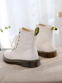 環球秋冬季新款帥氣保暖馬丁靴女英倫風百搭機車短靴子白色鞋 阿宅便利店