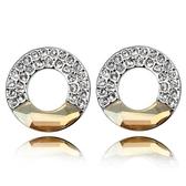 水晶耳環 925純銀(耳針式)-圓形鑲鑽生日情人節禮物女飾品5色73bd101【時尚巴黎】