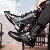 秋季馬丁靴男加絨刷毛棉鞋冬季黑色潮流韓版男士皮靴中高幫工裝男靴子 超值價