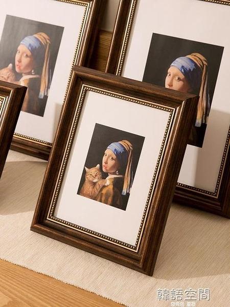 創意美式復古畫框外框7寸8寸10寸12寸掛墻洗照片加相框擺台豎橫