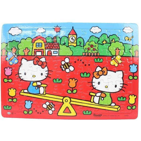Hello Kitty凱蒂貓拼圖 80片拼圖 玩翹翹板/一個入{促100} 世一C678021 KT幼兒卡通拼圖 MIT製正版授權