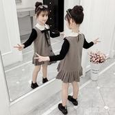 女童連身裙秋季洋裝女孩秋季學院風娃娃領連身裙網紅超洋氣兒童裙新款DF525【極致男人】
