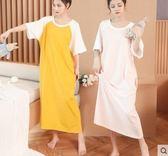 短袖睡裙 女棉質可外穿夏天可愛長裙寬鬆孕婦中大尺碼睡衣長款 rj1781『黑色妹妹』