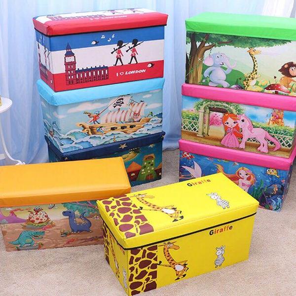 BO雜貨【YV6534】加大 卡通收納凳 長方形有蓋整理箱 可坐成人玩具雜物箱  摺疊凳  露營椅 玩具收納