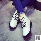 短靴 新款雪地靴棉鞋秋冬季鞋馬丁靴女皮面平底加厚加絨短靴子女鞋 歐歐流行館