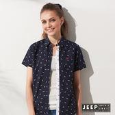 【JEEP】女裝 運動風滿版鯊魚造型短袖襯衫 (藍色)
