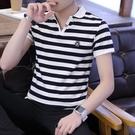 男士短袖t恤翻領純棉衛衣男裝polo衫夏季潮流體桖衫條紋長袖 伊衫風尚