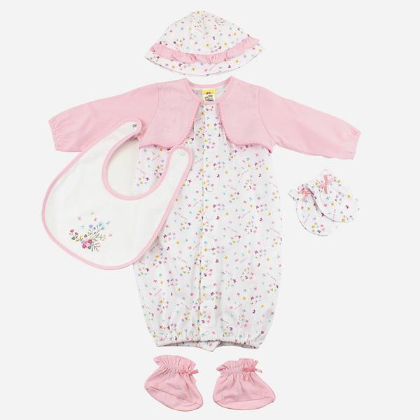【愛的世界】純棉假兩件長袖兩用嬰衣5件組禮盒/3~6個月-台灣製-  - ---禮盒推薦