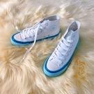 奶藍高筒帆布鞋女2020年夏季新款韓版布鞋子百搭白色日系小白板鞋 智慧e家